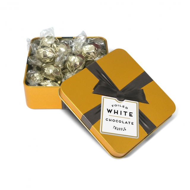 Special Offers – Small Gold Square Tin – White Chocolate Truffles