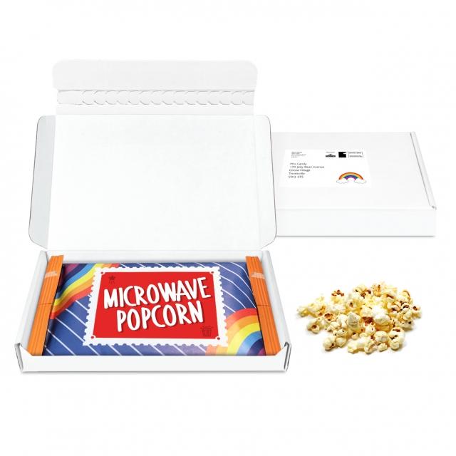 Gift Boxes – Mini White Postal Box – Microwave Popcorn – Microwave Popcorn DP
