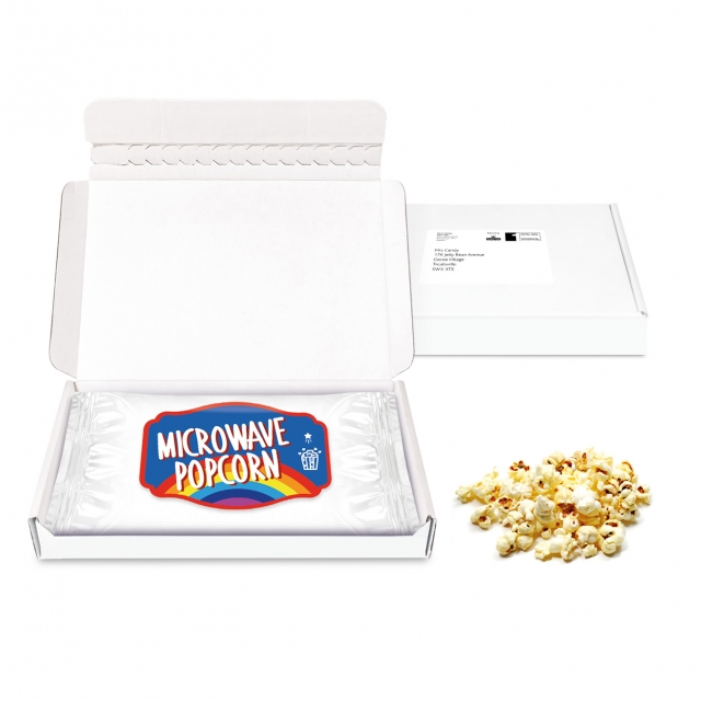 Postal Packs – Midi Postal Box – Microwave Popcorn – PAPER LABEL