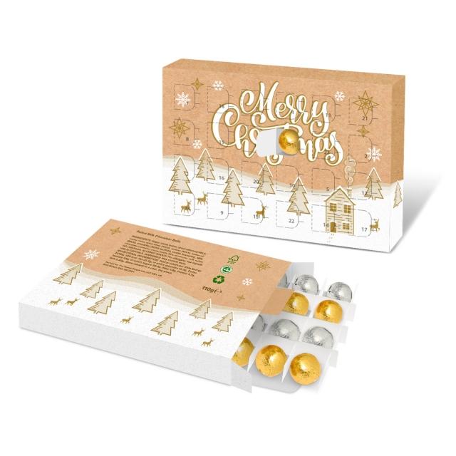 Eco Advent Calendars – A5 Calendar – Foiled Chocolate Balls